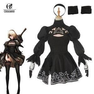 Женский костюм для косплея ROLECOS Nier Automata Yorha 2B, черное готическое платье для Хэллоуина, № 2