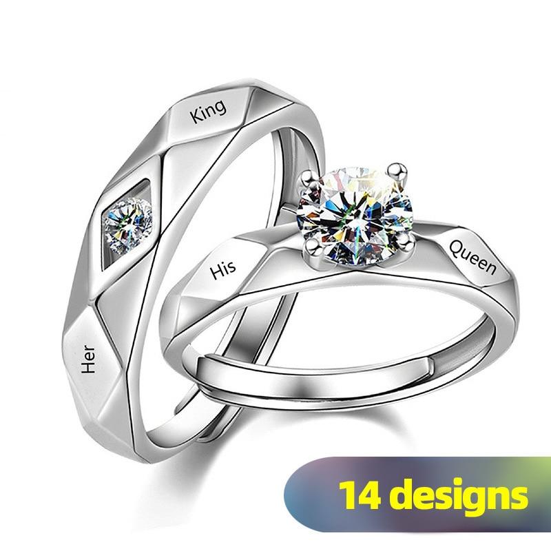 Huitan 1 pc Trendy Couple Pledge Love Token Ring With Letter His Queen&Her King Engraved Wedding Ring For Women&men Finger Rings