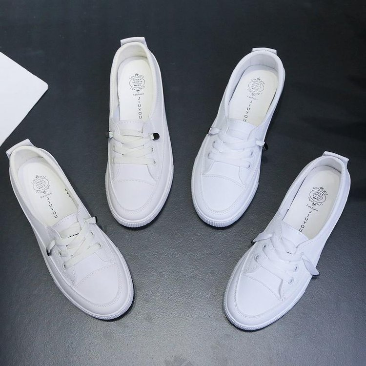 2020 low platform sneakers women shoes female pu leather Walking sneakers Loafers White flat slip on Vacation shoes AB570 4