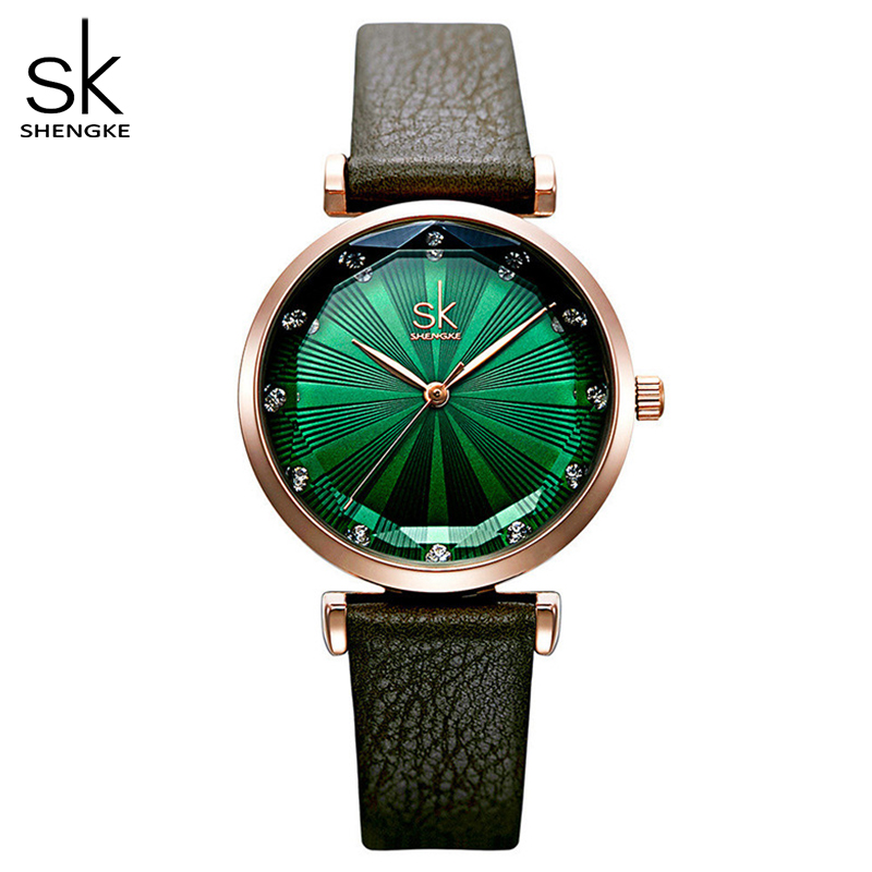 Shengke Women Fashion Green Quartz Watch Lady Leather Watchband High Quality Casual Waterproof Wristwatch Gift For Wife