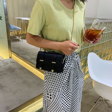 The new girl 2019 new bead chain double belt linear ramp Pack Single shoulder bag stylish and small parties.(China)