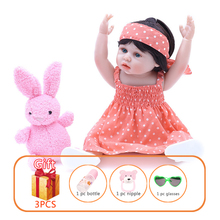 45cm Reborn Dolls Full Body Silicone Lifelike Newborn Baby Doll Handmade Toddlers Princess Dress Cute Girl Gifts Kids Toy
