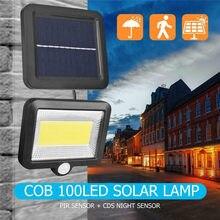 100led cob movido a energia solar luz ao ar livre sensor de movimento luz solar à prova dwaterproof água parede emergência lâmpada segurança rua para decoração do jardim