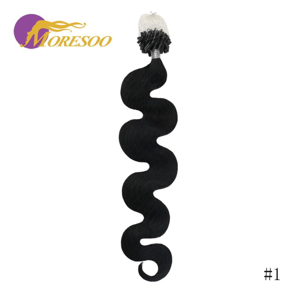 Moresoo Micro Ring Hair Extension Body Wave Pure Color Micro Bead Hair Extensions 50 Strands 50G Machine Remy Human Hair