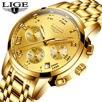 Reloj Hombre LIGE All Gold Watches Mens 2020 Luxury Fashion orologio da polso al quarzo cronografo analogico orologio da uomo scatola per orologio impermeabile