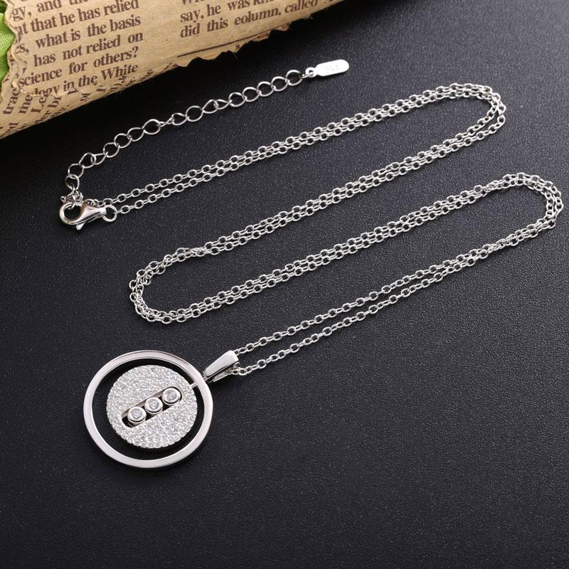 Moonmory 925 en argent Sterling colliers pendentif pour les femmes marque populaire CZ Zircon argent cou chaînes bijoux 2020 cadeaux de noël 3