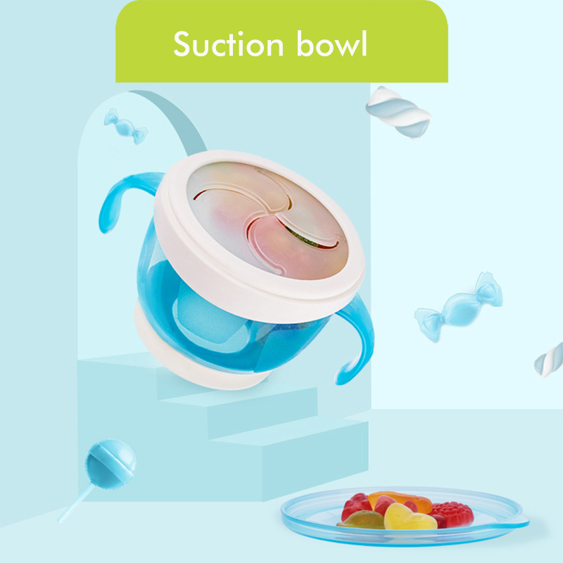 Baby Dual Handle Spill-proof Candy Food Suction Bowl Snack Box Food Container Children Baby Toddlers Feeding Box Snack Box