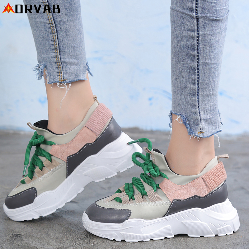 Women Shoes Tenis Feminino Fashion Platform Sneakers Breathable Comfortable Black Chunky Designer Woman