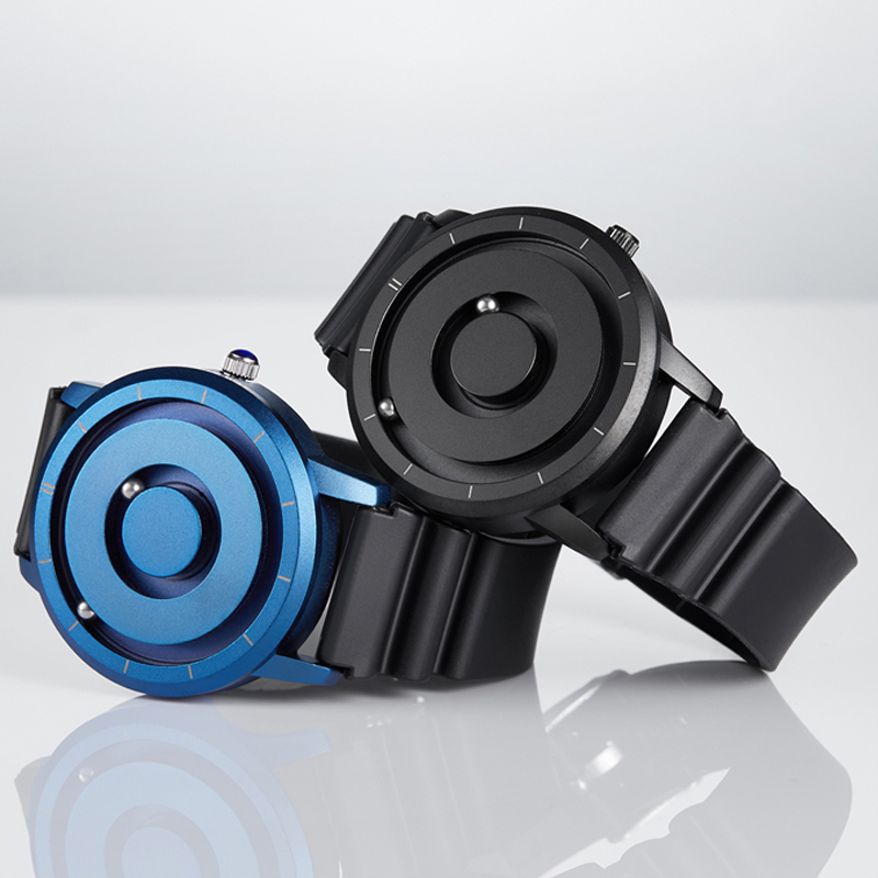 Creative Watch Blue Rose Gold Black Sliver Magnetic Ball Metal Multinational Watch Men's Fashion Rubber Sports Watch Male Watch