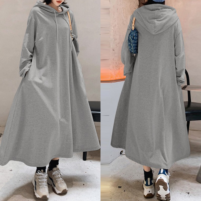 Stylish Hooded Hoodies Dress Women Autumn Sweatshirts 2020 ZANZEA Casual Long Sleeve Maxi Vestidos Female Solid Robe Oversized