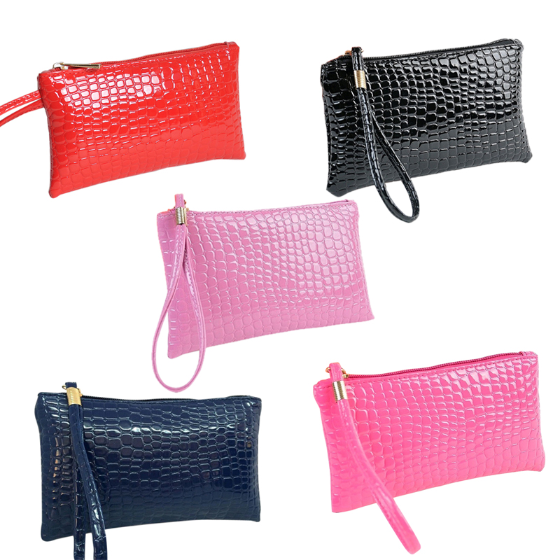 SHUJIN Women Crocodile PU Leather Wallet Money Purse Female Clutch Handbag Coin Crocodile Purse Clutch Purse Ladies Long Bag