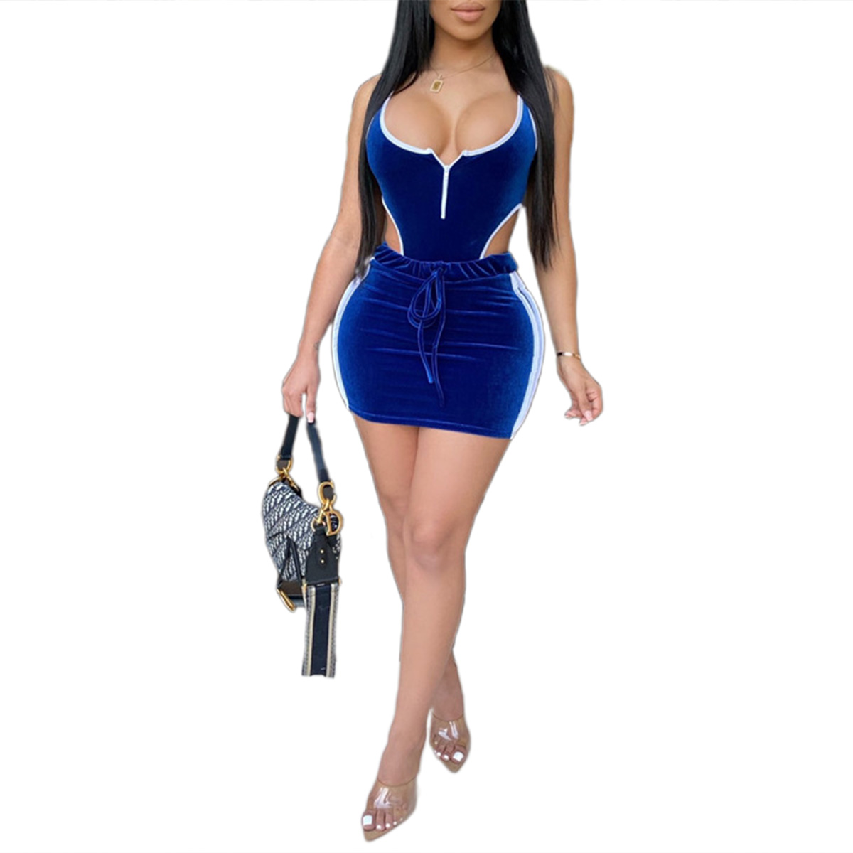 Women Sweatwear Tracksuit Set 2pcs Cold Waist Sleeveless Bodycon Bodysuit + Sexy Shorts 2020 Summer Trend Suit