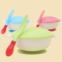 Baby Feeding Tableware Children Plate Sucker Bowl Toddler Baby Kids Child Feeding Lid Training Bowl with Spoon Learnning Dishes