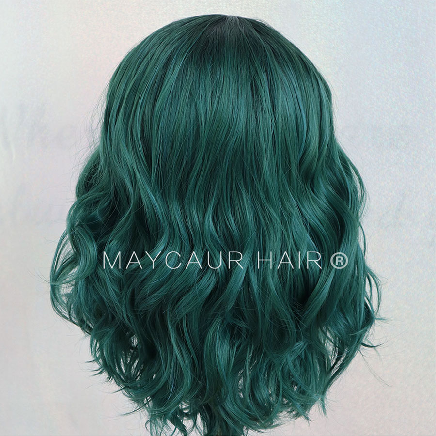 Image 5 - 2 Tones Black Ombre Green Synthetic Lace Front Wigs Heat Resistant Fiber Hair Dark Roots Short Body Wave Hair For Women-in Synthetic Lace Wigs from Hair Extensions & Wigs