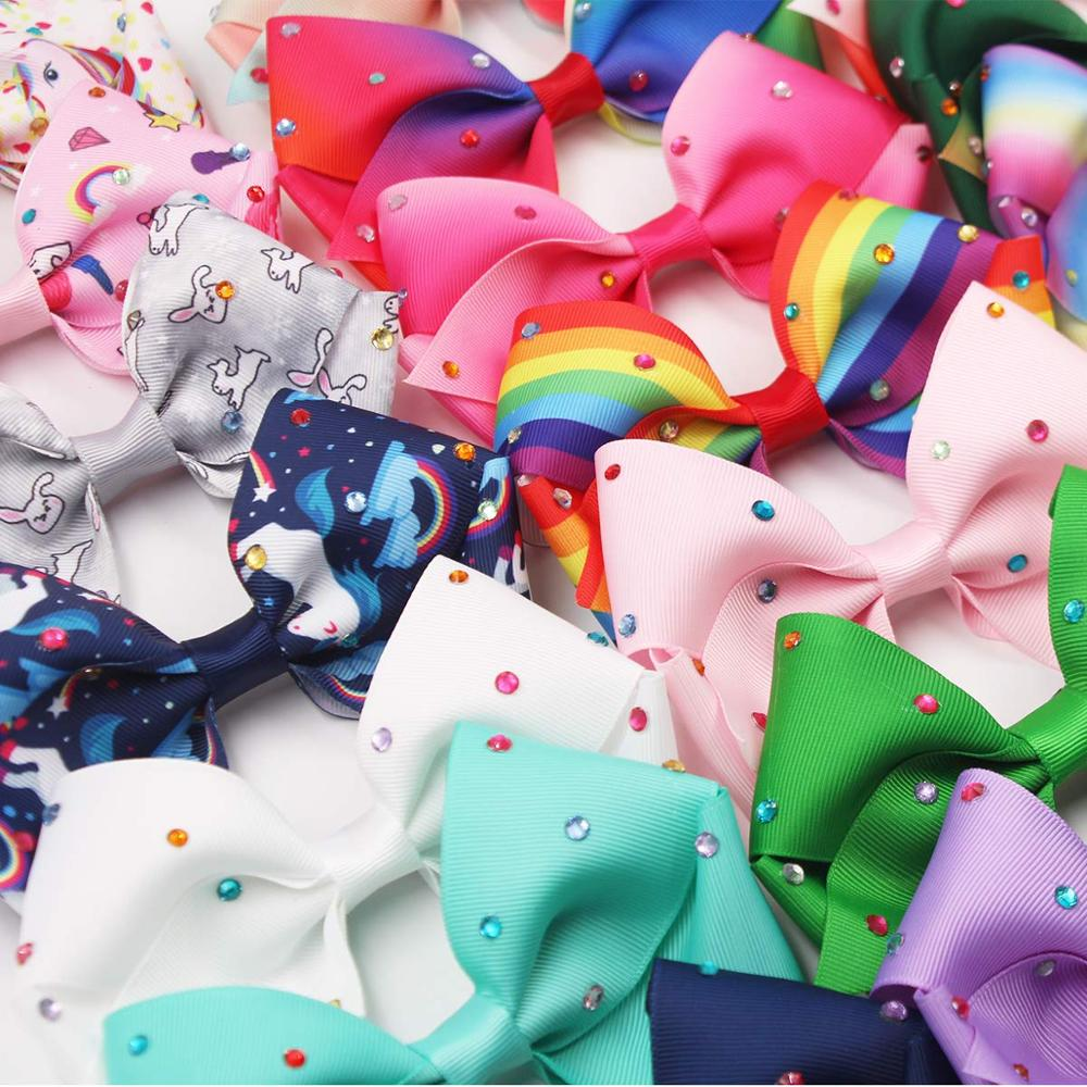 Image 4 - 20PCS 5.5Inch Large Big Rainbow Hair Bows Clips Sparkly Glitter Rhinestones Hair Bows French Clips for Girls Women Lady-in Hair Accessories from Mother & Kids