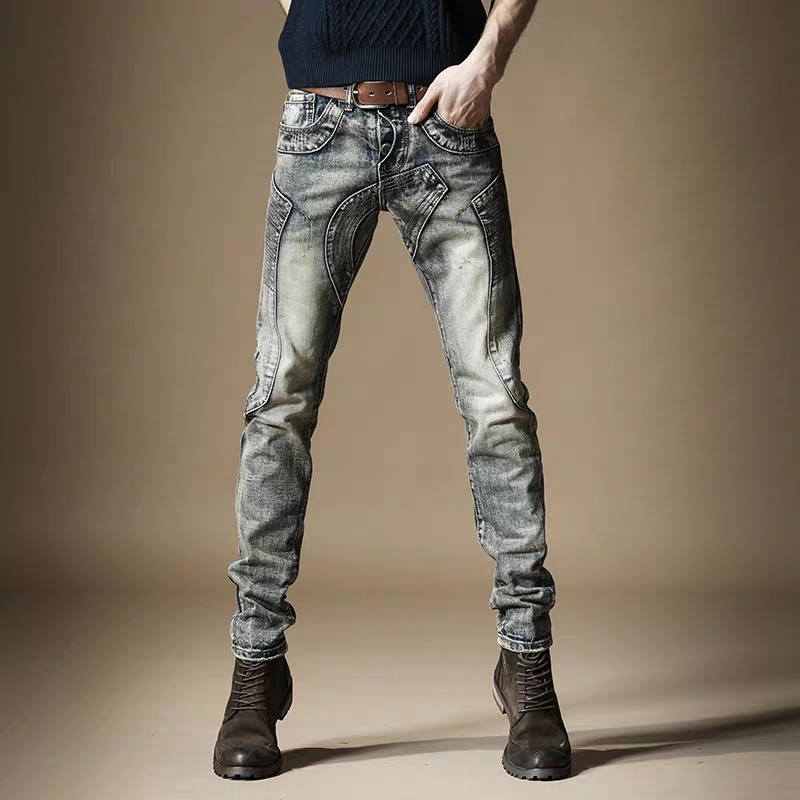 Free Shipping New 2020 Men's Male Retro Jeans Straight Metal Rust Hip Hop Stitching Punk Old Motorcycle Denim Trousers Pants