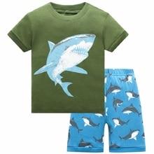 Summer Boys Pajamas Sets Shark Short Sleeve Childrens Sleepwear 100% Cotton Kids underwear Pyjama sleeping suits