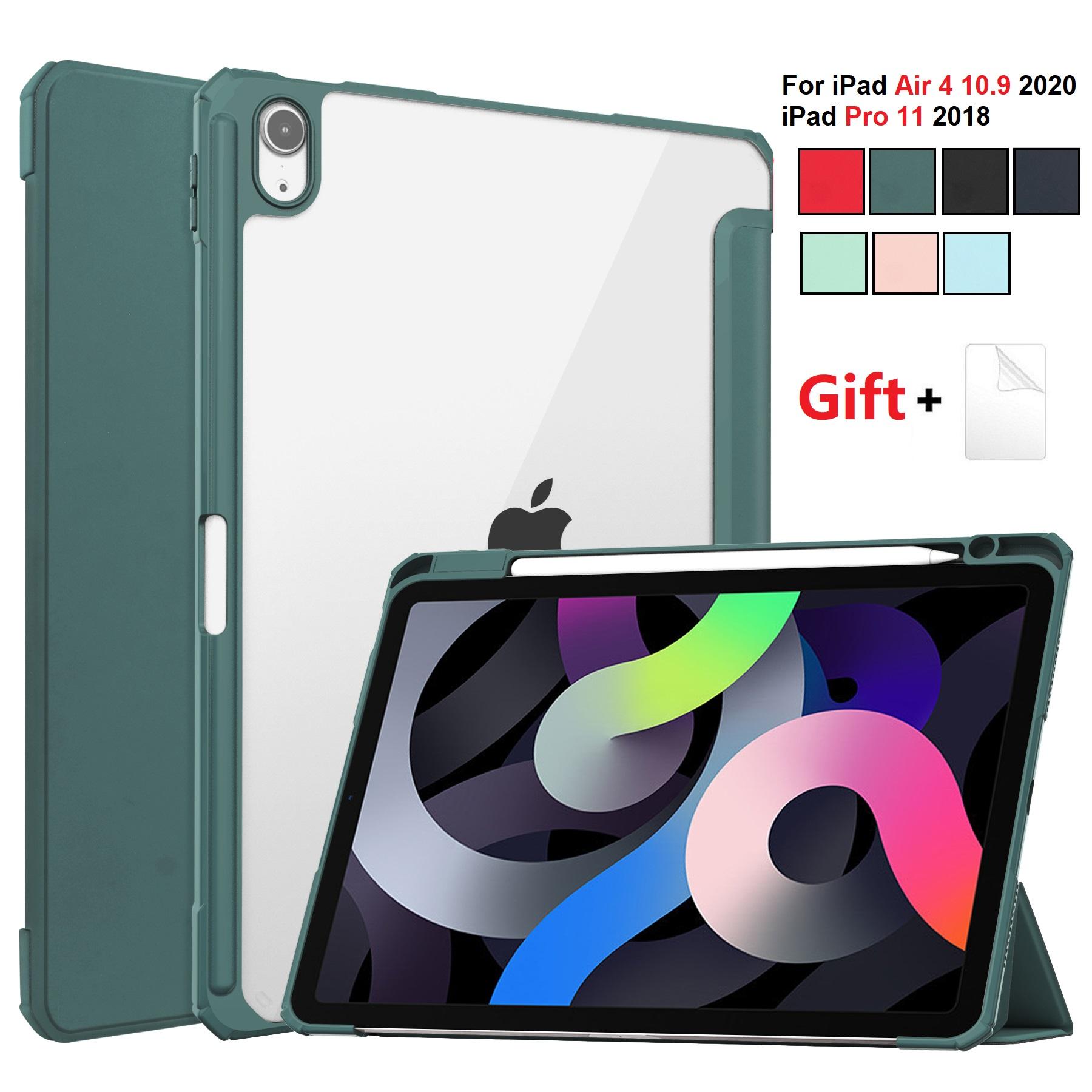 for iPad Air 4 DGree DarkCyan For iPad Air 2020 Case 10 9 inch Tablet Case 3 folding Cover Funda Auto Wake
