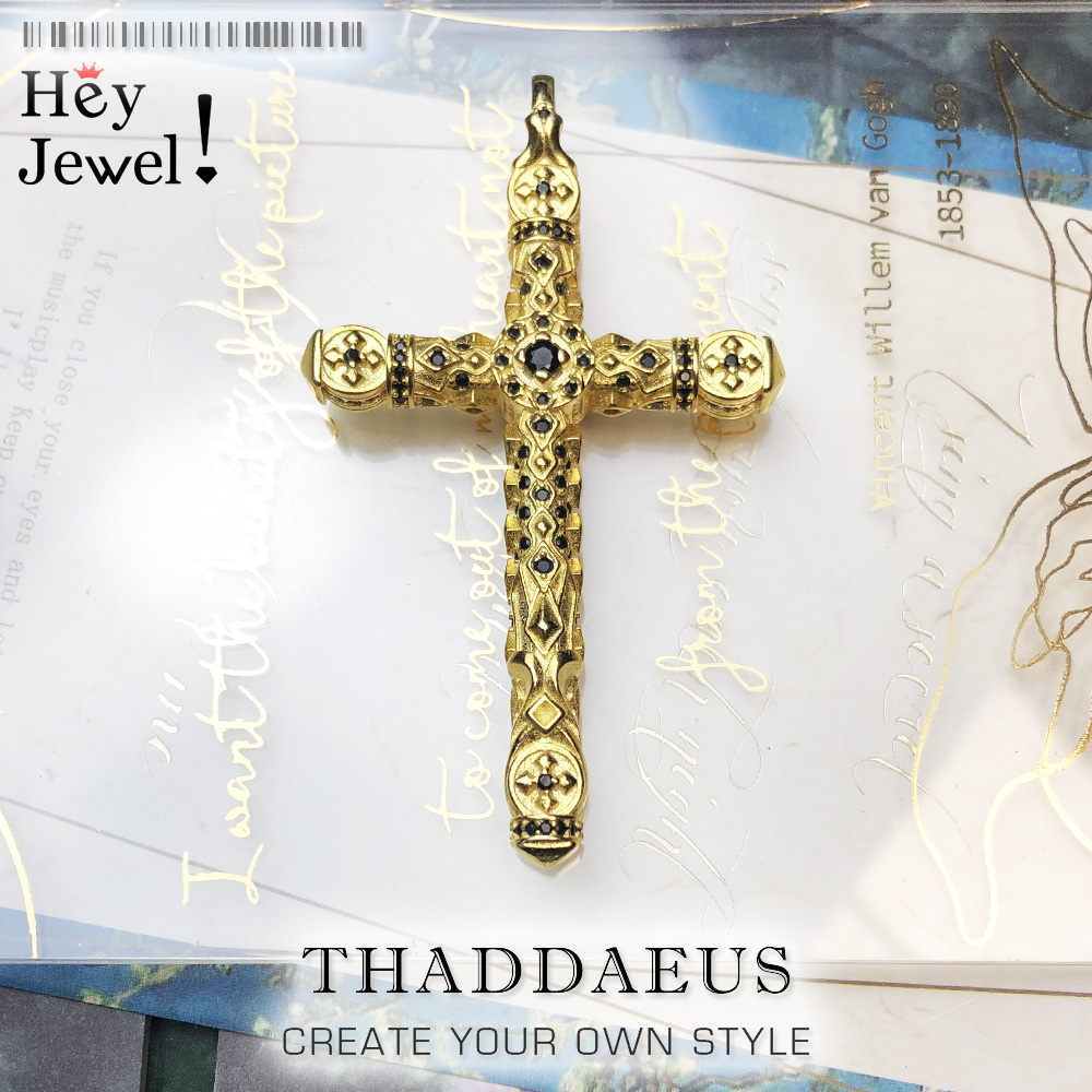 Pendentif croix noir pierres or, 2021 nouveau Fine Bijoux maître œuvre Bijoux accessoires 925 en argent Sterling cadeau pour femme hommes