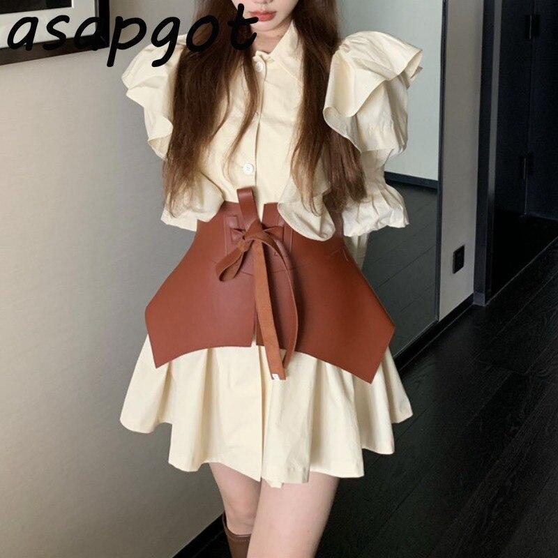 Новый сладкий шик Корейский темперамент дворцовый ретро стиль тяжелой промышленности свободное повседневное Плиссированное короткое платье с тонким поясом халат|Платья|   | АлиЭкспресс