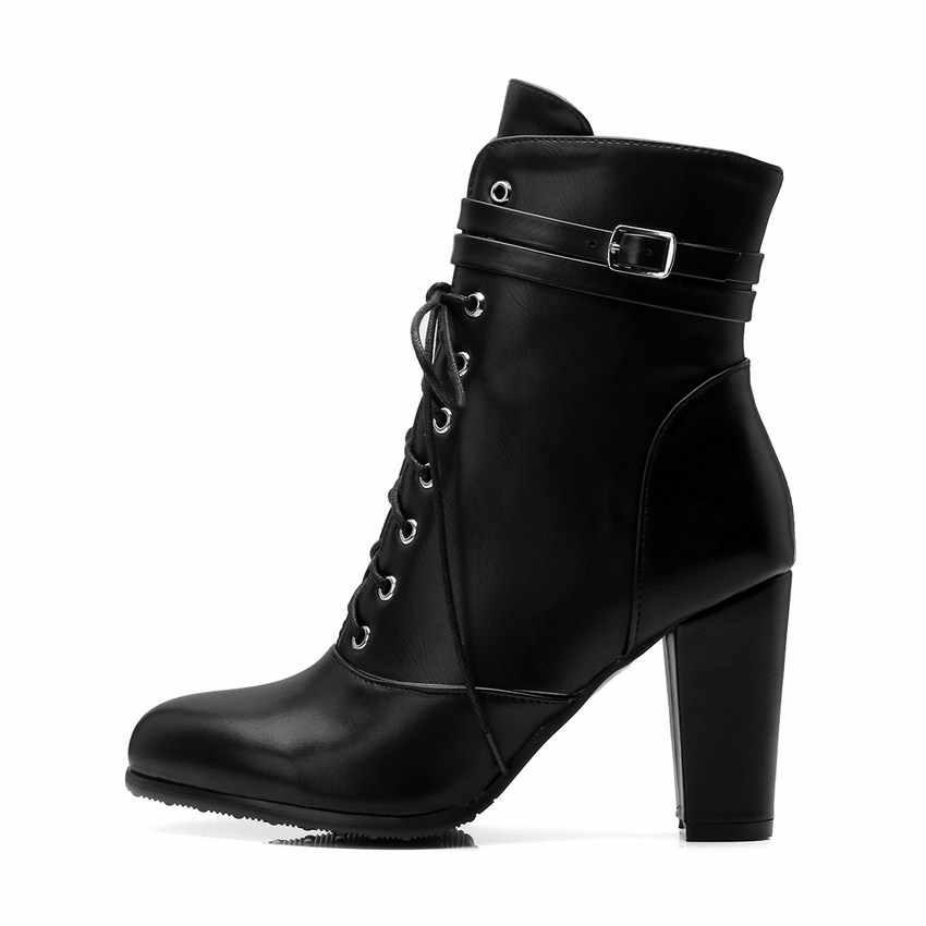 QUTAA 2020 kadın yarım çizmeler kış ayakkabı Lace Up fermuar tüm maç Platform kare yüksek topuk kadın motosiklet botları boyutu 34-43