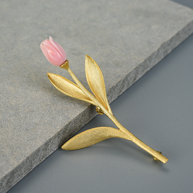 Lotus Fun Eternal Love Tulip Flower Brooches Real 925 Sterling Silver 18K Gold Handmade Design Fine Jewelry Best Gift for Women-3