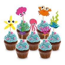 Ocean Sea Creature Cupcake Toppers - Under the Sea Theme Cupcake Picks for Kids Birthday Party, Baby Shower - Set of 28 30pcs golden glitter unicorn horn theme cupcake toppers kid s party baby shower decors