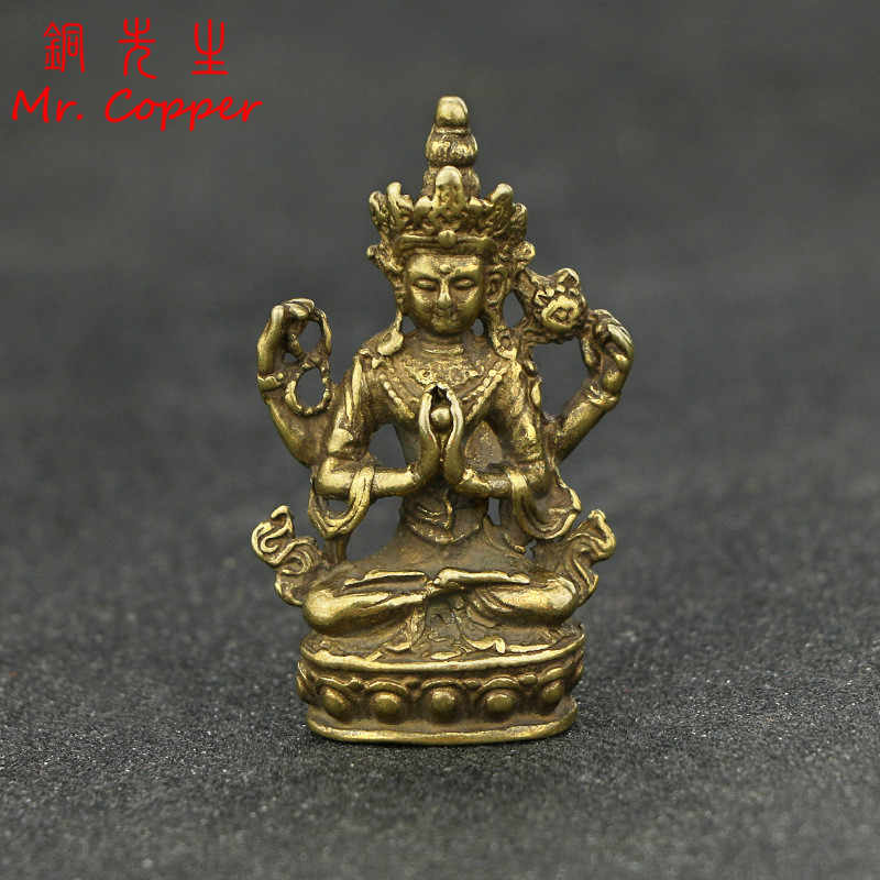 Antique Copper Buddha Statue Home Decor Accessories for Living Room Small Ornaments Retro Brass Office Desk Miniature Figurines