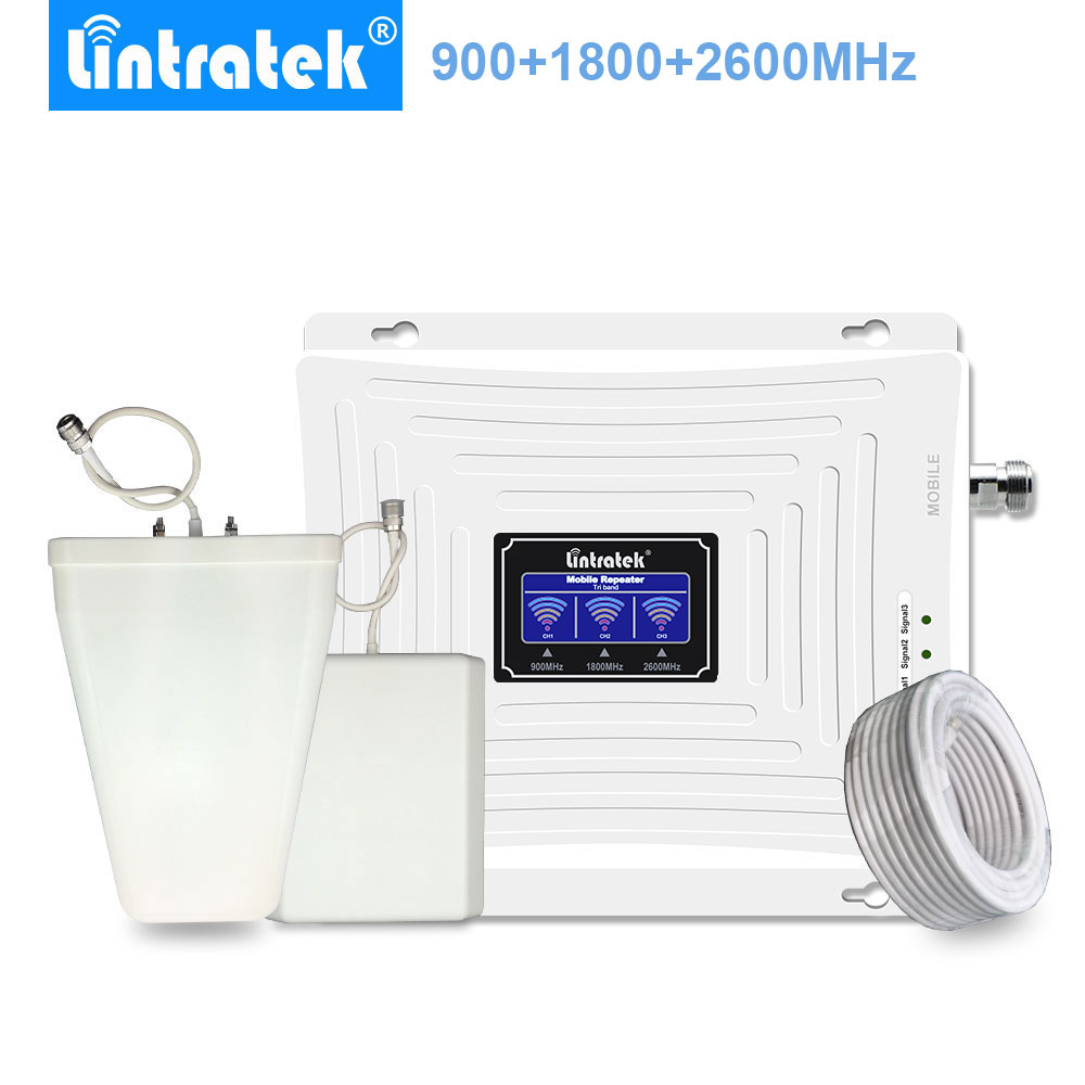Lintratek Amplificador 4G LTE Band 3+ Band 7 GSM 900 1800 2600 MHz Mobile Phone Signal Repeater Cell Booster for Voice and Data@