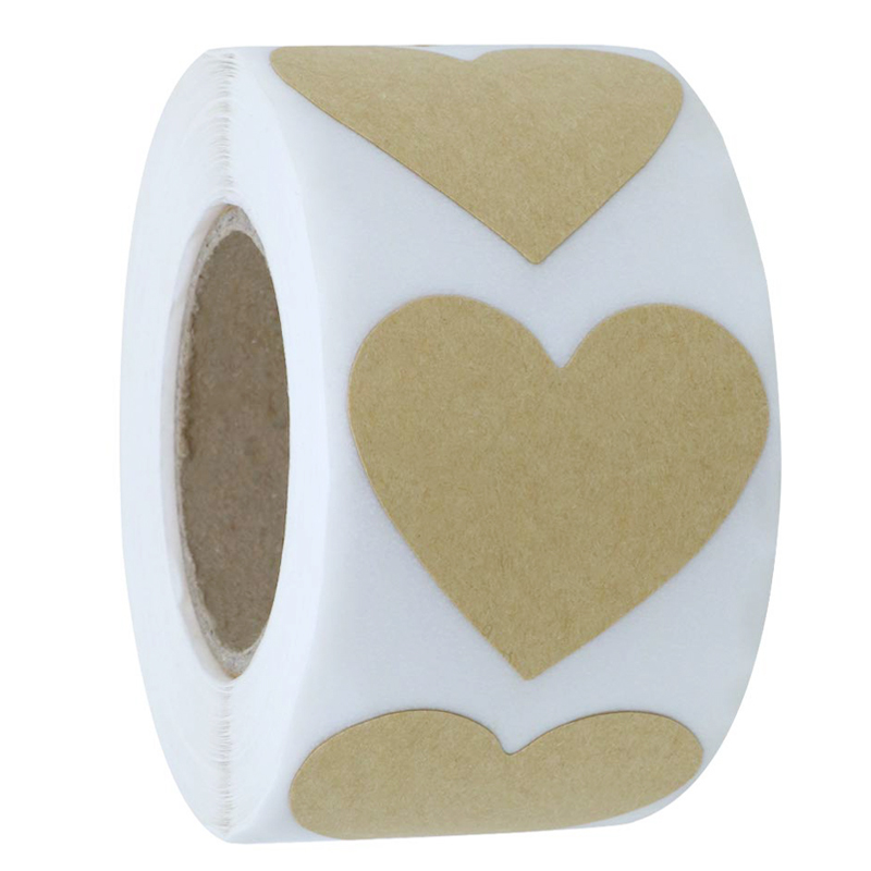 500pcs Brown Kraft Love Heart Stickers Envelope Seals Labels 25mm Heart Shape Packaging Stickers Stationery Sticker(1 Roll)