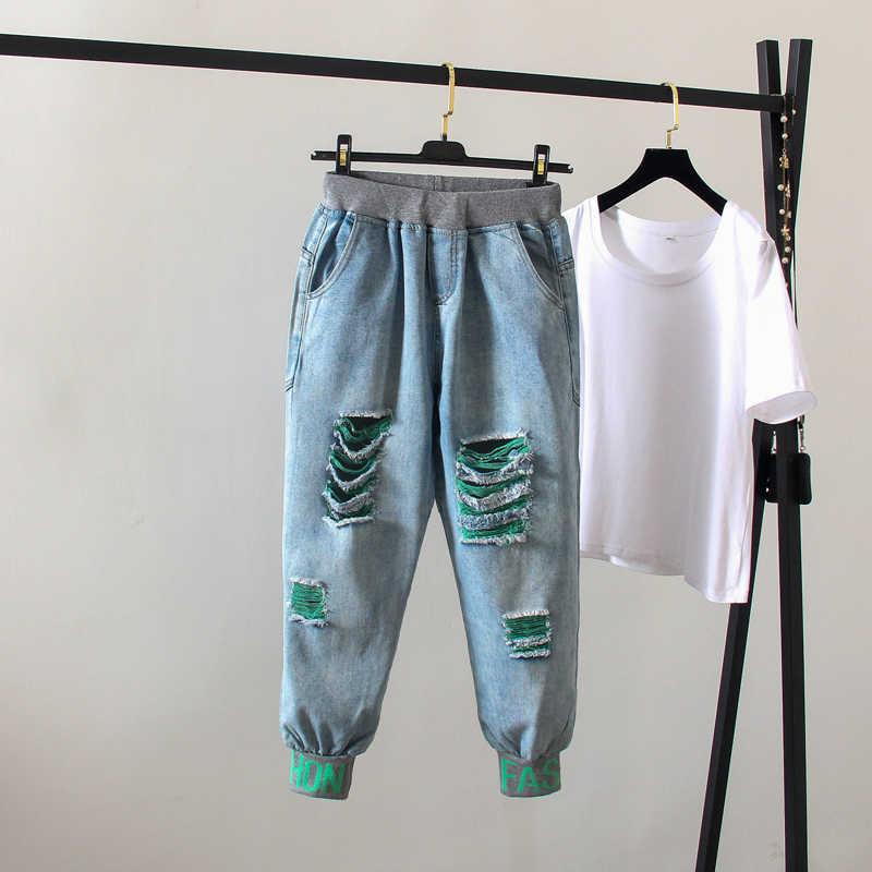 Женские шаровары с эластичным поясом, женские джинсовые брюки, повседневные винтажные джинсы с большими отверстиями, модель 2020