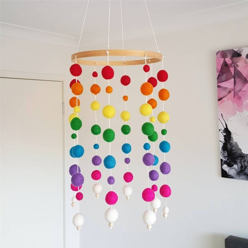New Handmade Wooden with Wool Balls Wind Chimes Natural Eco-friendly Kids Room Baby Bed Hanging Bell Gift Nursery Decoration