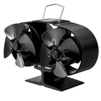 8 lâminas de fogo fogão ventilador lareira calor alimentado poupança eco amigável lareira ventiladores log madeira queimador doméstico inverno mais quente|Exaustores| |  -