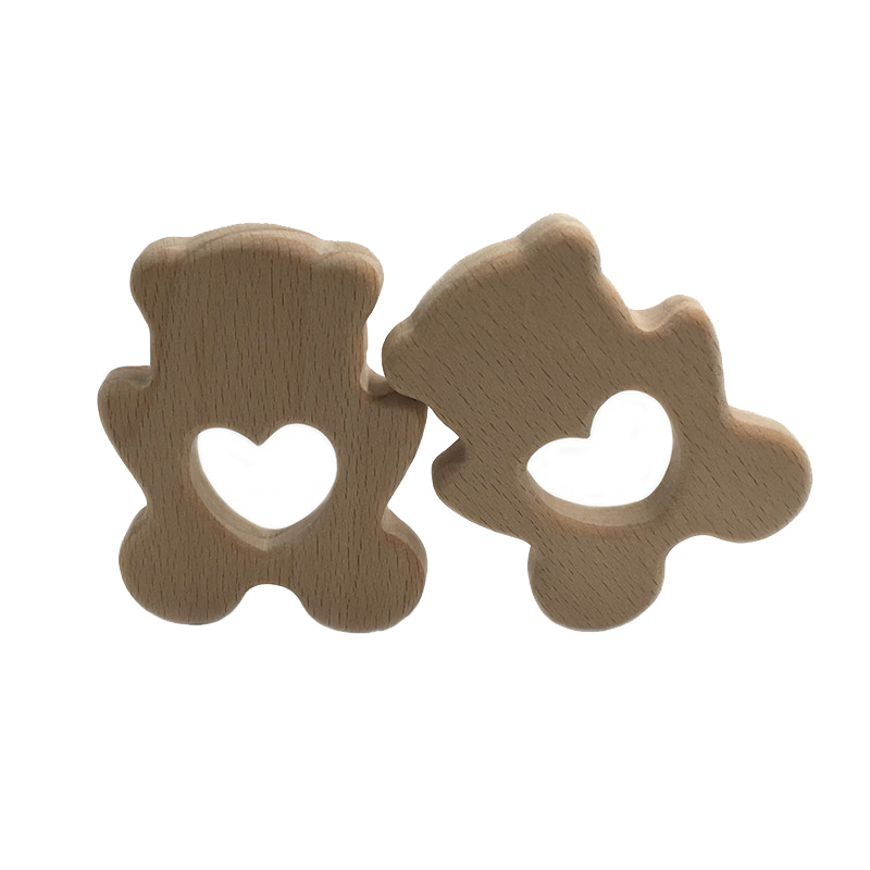 DIY Cartoon Animal Bear Natural Beech Wooden Teether Pacifier Chain 3C Safety Certification Wooden Baby Teether Toys For Newborn