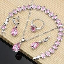 Ladies 925 Silver Jewelry Mystic Pink Zircon White Stone Princess Jewelry Sets For Women