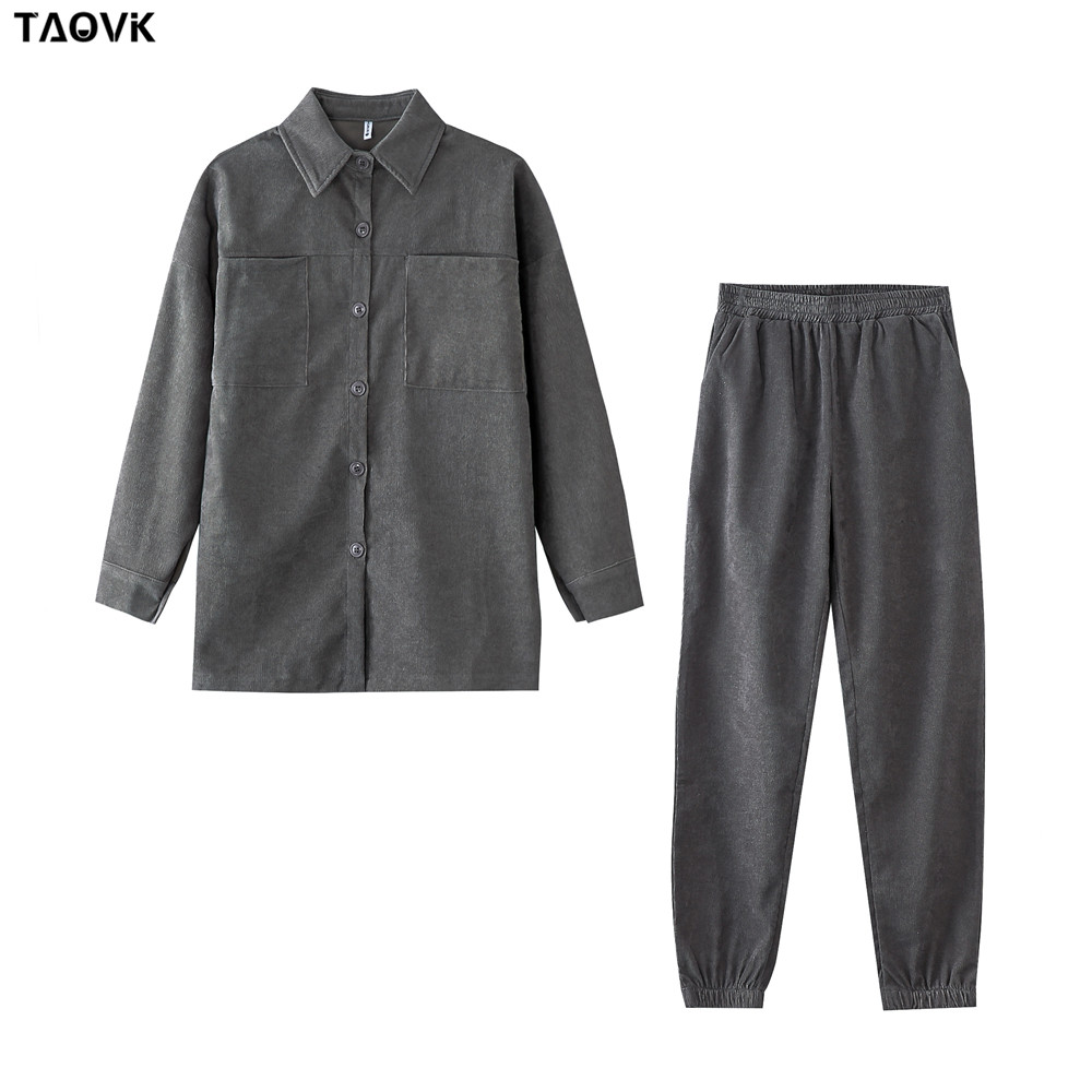 TAOVK Women's tracksuit corduroy  Pinstripe Single-breasted pocket Tops and pants women suits 7