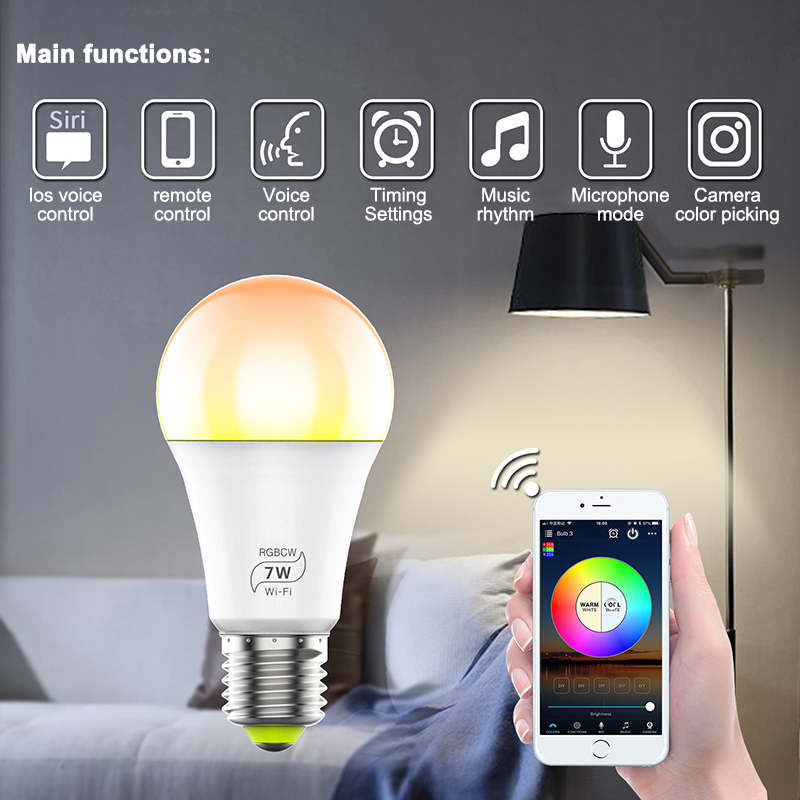 Smart LED Light Bulb Wi-Fi 4.0 Smart Bulb Home Lighting Lamp 7W E27 Smart LED Bulb Timer Voice Could Change Color By Phone App image