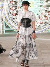 Big-name women's summer cotton 3D printing high-waist pleated skirt 2021 women's high-quality fashion large-length puff skirt XL