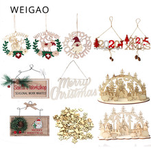 WEIGAO Christmas Wooden Ornaments Party Xmas Tree Hanging Wood Pendant Gift Desktop decoration Navidad 2019 krest