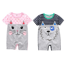 цена на Summer Baby Rompers Cotton Baby Girl Clothes Cartoon Animals Ears Baby Boy Clothes Newborn Baby Clothes  Infant Jumpsuits
