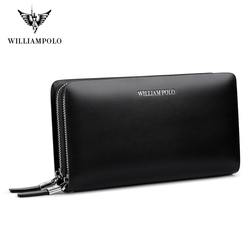 WILLIAMPOLO Men Wallet Genuine Leather Purse Fashion Casual Lonog Business Male Clutch Wallets Men's Handbags PL239