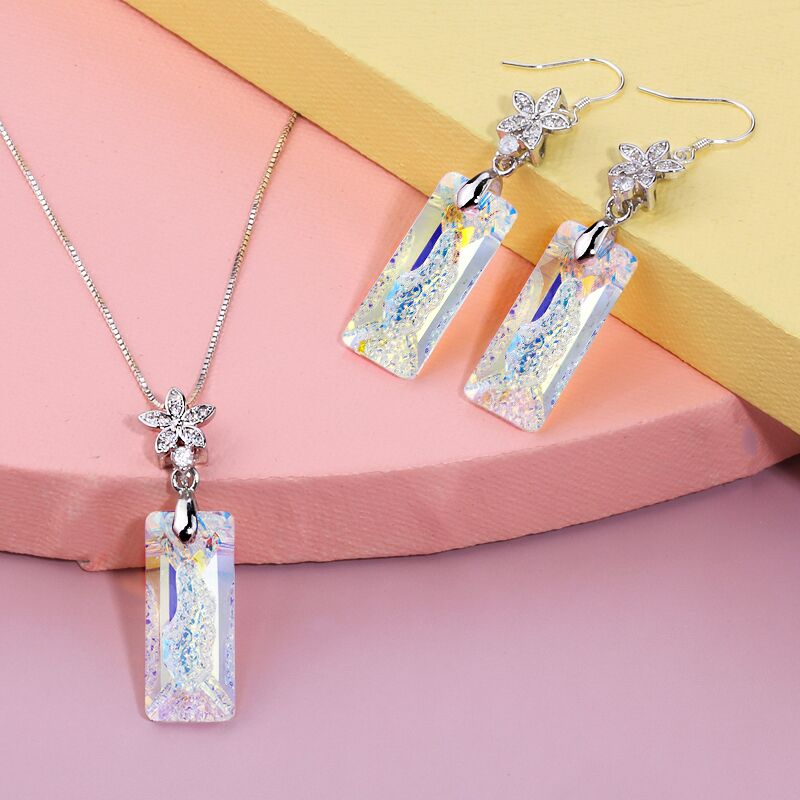 925 Sterling Silver Pendant Necklace Earrings Set Fashion Jewelry Crystal DIY Jewelry Set Package Women Engagement 6 Colors