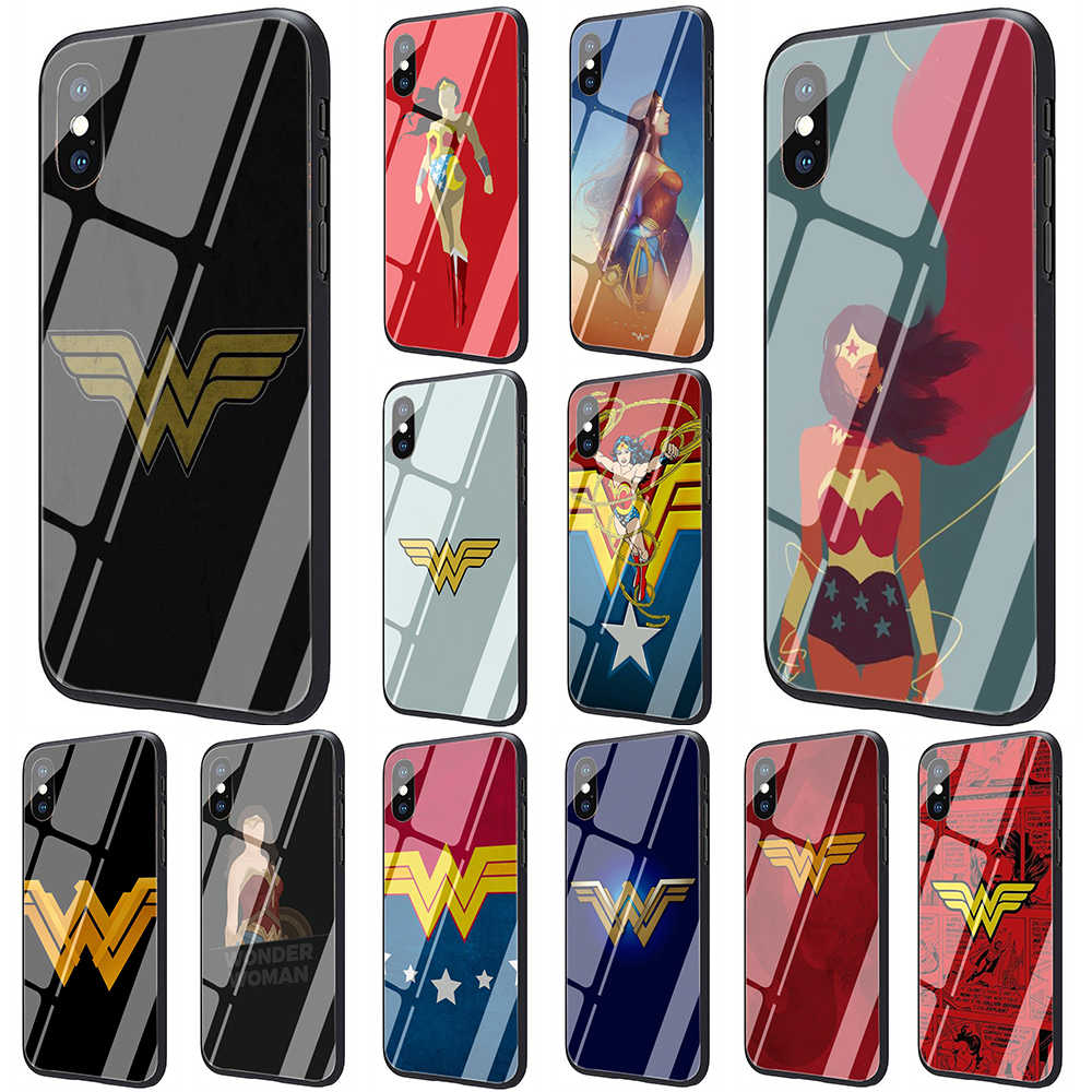 EWAU Wonder Woman Logo Gehard Glas Telefoon Cover Case Voor iPhone 11 Pro 6 6S Plus 7 8 Plus X XS XR XS Max