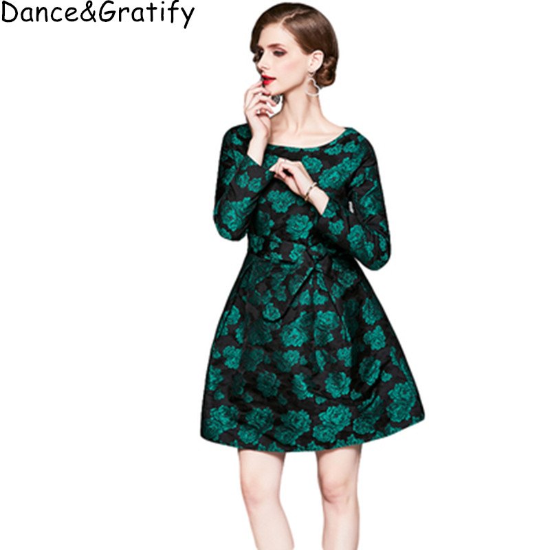 Autumn Winter 2019 Women Jacquard Party Dress 3/4 Sleeve High Quality Elegant Green Flowers Office Lady Work Dress