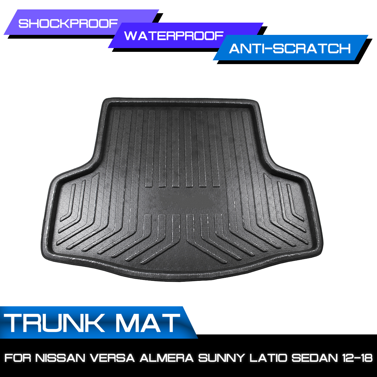 Car Rear Trunk Boot Waterproof Floor Mats Carpet Anti Mud Tray Cargo Liner For Nissan Versa Almera Sunny Latio Sedan 2012-2018