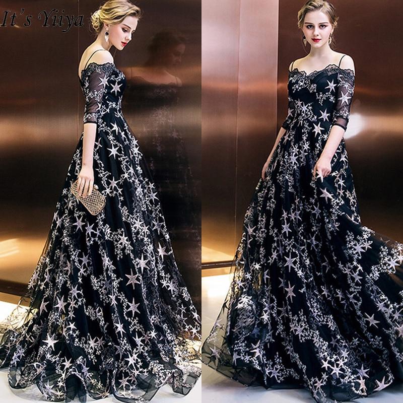 It's Yiiya Evening Dresses 2019 Boat Neck Half Sleeve Stars Prints Floor Length Dresses Fashion Elegant Formal Dress Slim LX993
