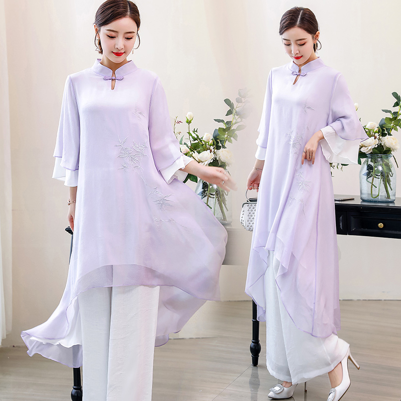 2019 Ao Dai Set Asian Clothes Vietnam Cheongsam Dress For Women Traditional Clothing Ao Dai With Robe+pants Pieces Suit