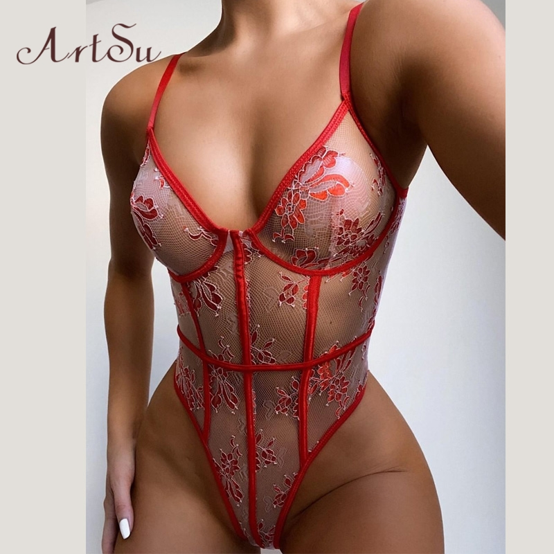 Artsu Red Sexy Lace Floral Embroidery Bodysuit Women Lingerie Sets Party Transparent Body See Through Rompers Female Body Suit