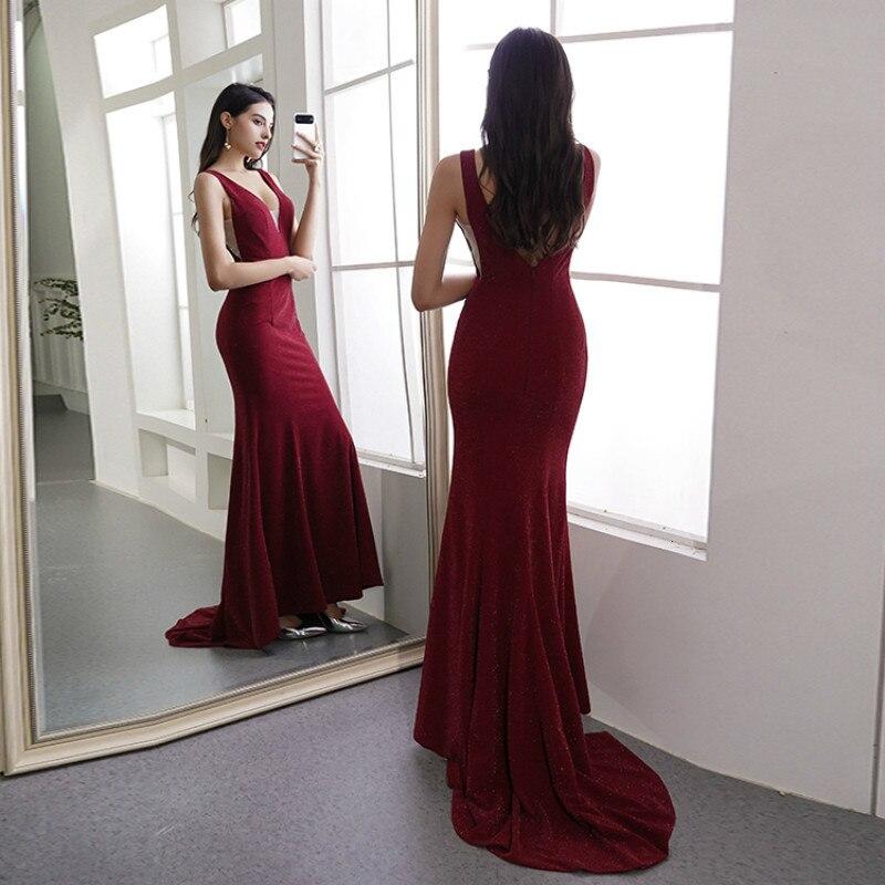 Nouveau personnaliser vin rouge longue sirène robe de soirée robe