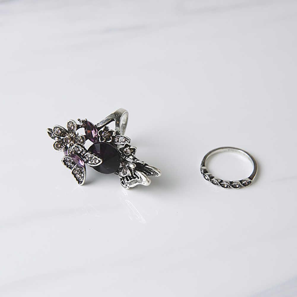 Cristal borboleta forma anel de casamento festa de jóias anel elegante moda clássico